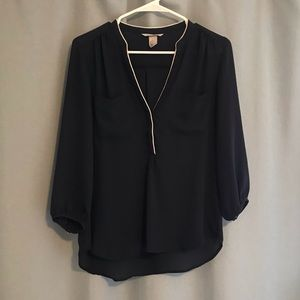 Dark Navy Blouse with White Piped Collar